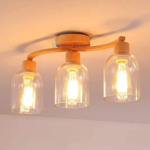 GYC Lámpara de Techo Vintage Lámpara de salón de 3 Luces en Grano de Madera Hecha de Acabado de Metal, lámpara Colgante con Pantalla de Vidrio Transparente en Forma de Copa,