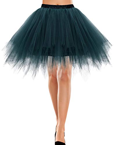 Bbonlinedress Tutu Petticoat Unterrock Winter Rock Winter 50er Vintage Ballet Blase Tanzrock Tanzkleid Ballkleid Kurz Retro Rock Winter Knielang Tüll Rock Winterabilly Weiss Petticoat Dark Green L