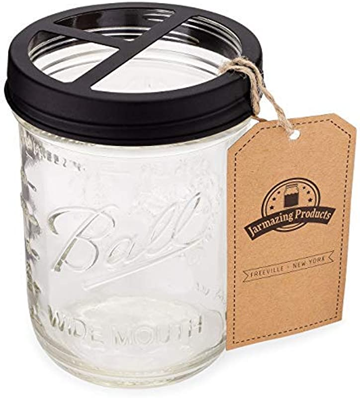 Jarmazing Products Mason Jar Toothbrush Holder Black With 16 Ounce Ball Mason Jar Made From Rust Proof Stainless Steel