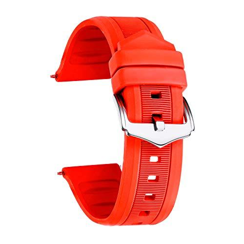 BINLUN Silikon Gummi Uhrenarmband Smart Watch Uhren Armband (Weiß/Rot/Schwarz/Blau/Orange)(12mm/14mm/16mm/18mm/19mm/20mm/21mm/22mm/24mm)