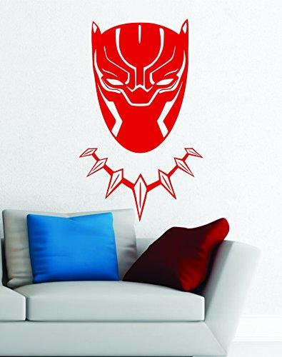 Black Panther Wakanda King Tête Masque Superhero enfants Cadeau Décor Art Sticker mural en vinyle de décoration de voiture autocollant - Large 90 cm x 55 cm - Red