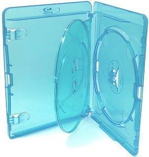 Amaray - Juego de fundas para Blu-ray y DVD (5 unidades, para 3 discos), color azul