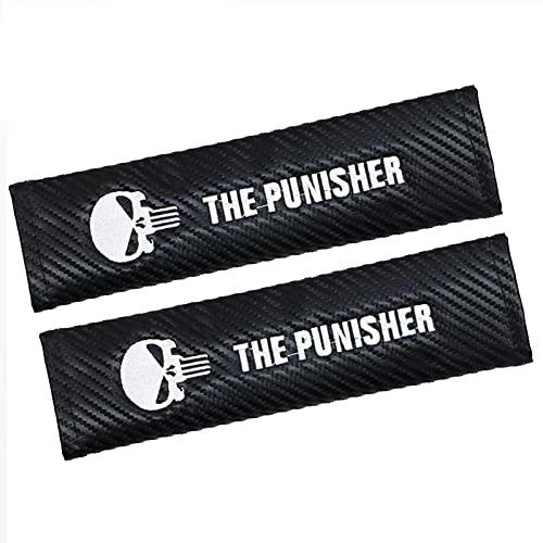 BLJS 2 Uds Almohadilla para Cinturón de Seguridad de Coche, Almohadillas para Arnés Cómodas Accesorios Punisher Almohadilla Protectora para Hombros