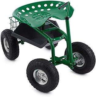 Waldbeck Park Ranger Silla de Jardín Verde (neumáticos grandes, compartimiento práctico, asiento giratorio de altura regul...