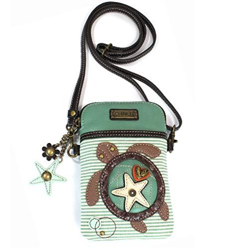 CHALA Bolso bandolera para teléfono celular - Bolso multicolor de cuero PU para mujer con correa ajustable - Tortuga - Rayas verde azulado