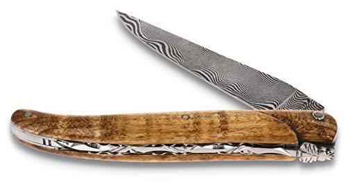 LAGUIOLE en Aubrac Messer 12 cm - Griff geflammter Ahorn Plein Manche - Zisellierte Platine - Damastklinge - Frankreich Taschenmesser