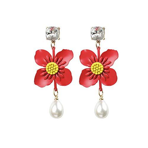 GLJIJID Exquisite Florale Und Diamantartige Perlenohrringe, Stilvolle Boheme-Ohrringe, Rot Für Die Liebsten