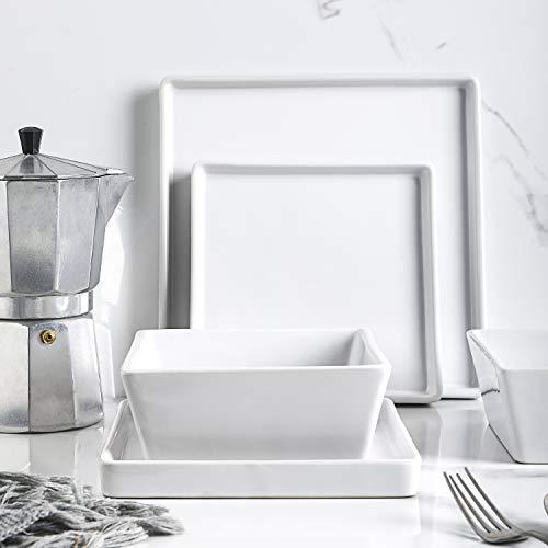 Stone lain Grace Square Stoneware Dinnerware Set, 24 Piece Service For 8, White
