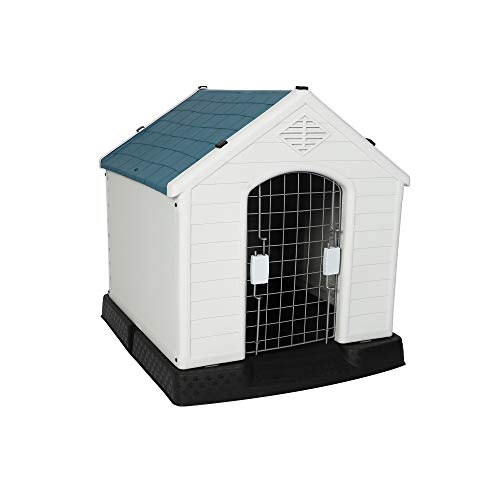LUCKYERMORE Outdoor Dog House Crate with Door Lightweight Plastic Pet Kennel Waterproof Windproof, Small Dog Houses