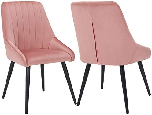 Best Dining Chairs Set of 2, Upholstered Accent Chair Tufted Armless Chair Mid Century High Back Chairs V