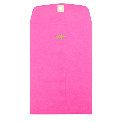 JAM PAPER 6 x 9 Open End Catalog Colored Envelopes with Clasp Closure - Ultra Fuchsia Hot Pink - 10/Pack