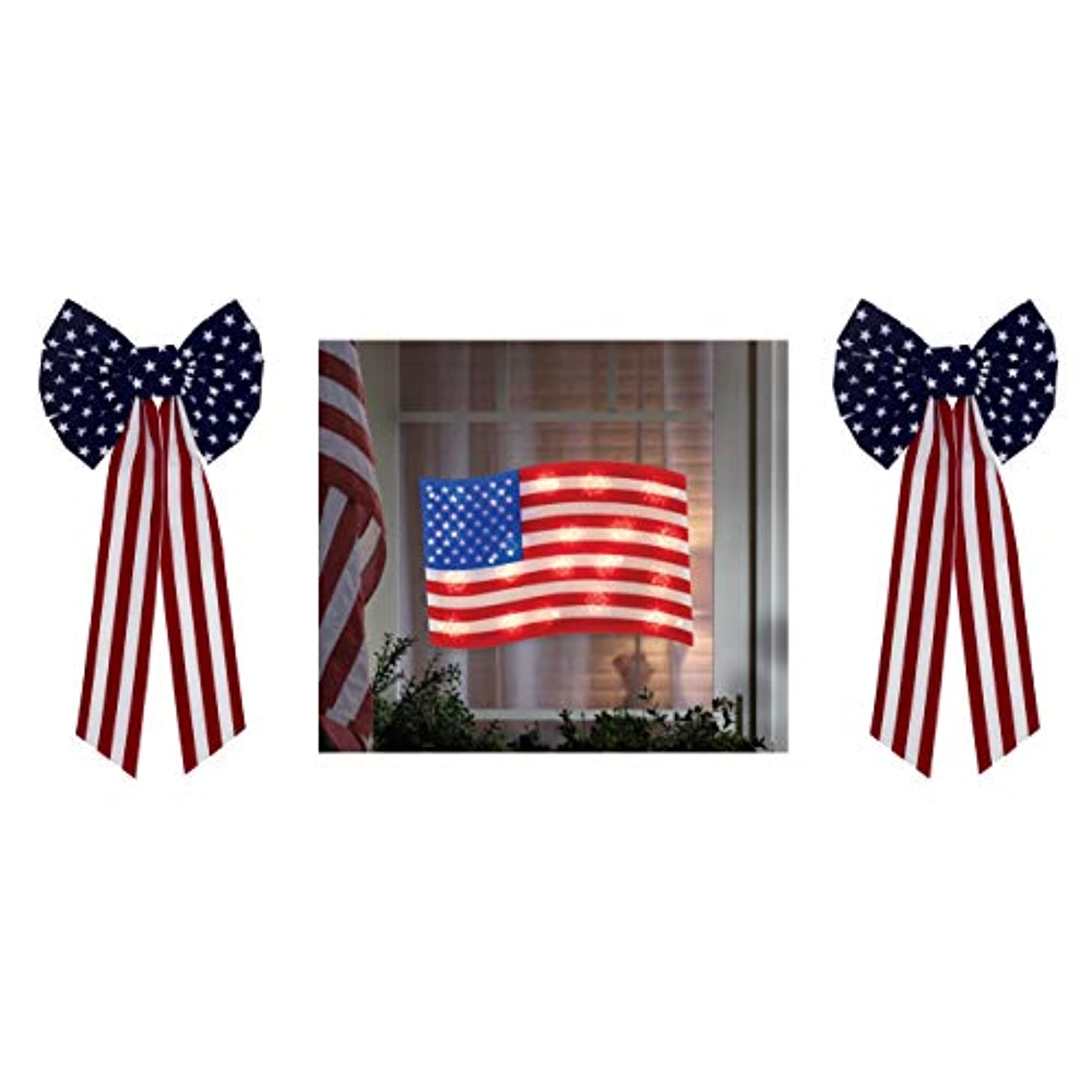 B-THERE Bundle of USA July 4 Decorations, American Flag 50 Lights & 2 Bows, Flock Medium 6 Loop & Center Button