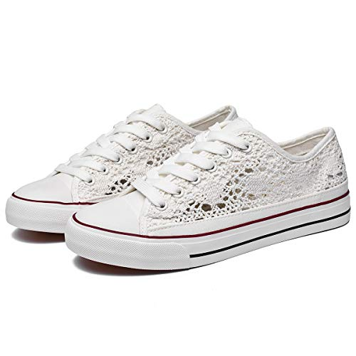 ZGR Women's Fashion Canvas Sneakers Mesh Knitted Upper Low Cut Casual Shoes (White,US9)