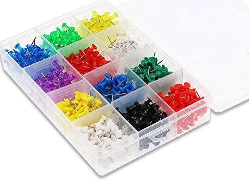 Puntine da Disegno,Puntine da Mappa 600 Pack Colorate Pin Puntine con Testine in Plastica Push Pins per Bacheca di Sughero Cancelleria Cartoleria 12 Colori