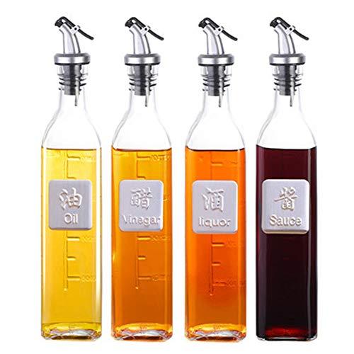 XYZZ Olla de Aceite de Vidrio, Conjunto de Botellas de Vidrio de Cocina Grande para el hogar, Boquilla de vertido de Acero Inoxidable, diseño sin Goteo