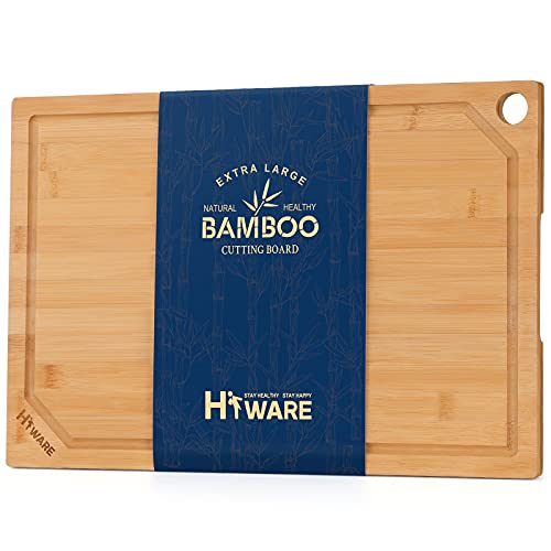 """Hiware Extra Large Bamboo Cutting Board for Kitchen, Heavy Duty Wood Cutting Board with Juice Groove, 100% Organic Bamboo, Pre Oiled, 18"""" x 12"""""""