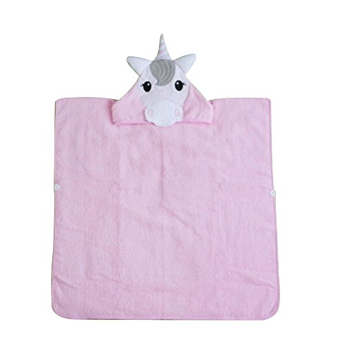 Crazy lin Los niños con Capucha de algodón de Secado rápido más Suave de algodón de Dibujos Animados Albornoces Cloak Beach SPA Cool Warm Towels (Unicornio, S)