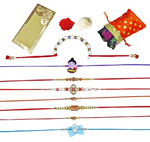 Peegli Festival Multicolor Thread Rakhee Combo Of 8 Pcs Rakhi With Scarf Raksha Bandhan Bandas Para Hermano