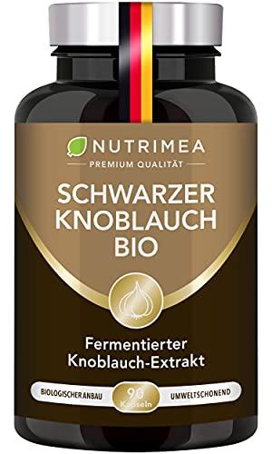 Schwarzer Knoblauch BIO | Knoblauchextrakt Fermentiert ABG10+® Aged Black Garlic Extrakt PATENTIERT Mit S-Allylcystein (SAC) | 90 Kapseln Geruchlos Hochdosiert & 100% Vegan – Für Herz & Gefäße