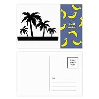 椰子の木のシルエットの黒い植物 バナナのポストカードセットサンクスカード郵送側20個