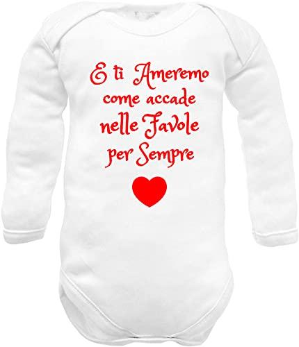 body neonato manica lunga cotone frase amore - E ti ameremo... per sempre - idea regalo nascita nipote zia, nonna, nonni, mamma e papà -13 ameremo W ML C 00: 0-3 mesi
