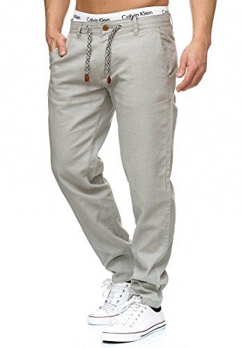 Indicode Herren Veneto Stoffhose aus 55% Leinen & 45% Baumwolle m. 4 Taschen | Lange sportliche Regular Fit Hose Moderne Baumwollhose Leinenhose Bequeme Freizeithose f. Männer Lt Grey L
