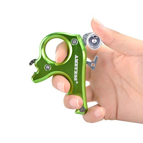 MILAEM Bogenschießen Release Aid Aluminiumlegierung 3 Finger Daumen Auslöser Trigger Bowstring Release Spannhilfen für Compound Bogen (Grün)