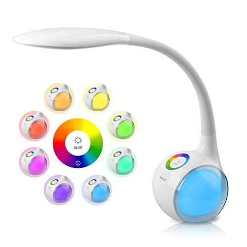 WILIT T3 Lámpara de Escritorio Táctil, 256 RGB Luz de Color, 3 Niveles de Brillo, Flexo LED Regulable, Lámpara de Mesa Ajustable, Brazo Tipo Cuello de Cisne, Protección para los Ojos, 5W, Blanco