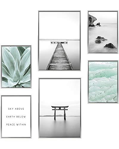 Heimlich® Premium Poster Set mit Bilderrahmen Aluminium Silber | Stilvolles Set mit passenden Bilder als Wohnzimmer Deko | 2 x DIN A3 & 4 x DIN A4 - ca. 30x42 & 21x30 | » Yoga Achtsamkeit «