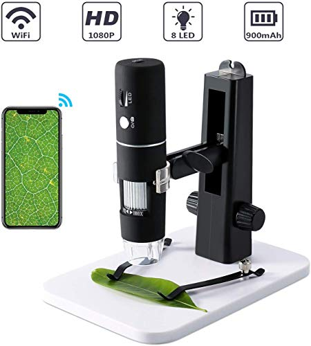 Microscopio USB HD, Microscopio USB WiFi Fotocamera 1000X Zoom 1080P HD con Supporto Professionale, Mini Microscopio Tascabile con 8 LED per iPhone iOS Telefono Android iPad Windows, Mac,Nero