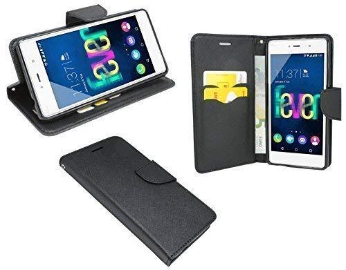 ENERGMiX Buchtasche kompatibel mit Wiko Fever 4G Hülle Case Tasche Wallet BookStyle mit Standfunktion in Schwarz