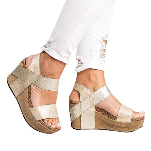 Womens Casual Sandals Summer Pee Toe Ankle Strap Slingback Sandal Breathable High Platform Elastic Band Shoes (Gold, US:9)