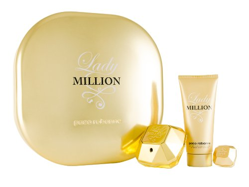 Paco Rabanne Lady Million, Geschenkset, EDP Natural Spray 50 ml + Eau de Parfum 5 ml + Sensual Body Lotion 100 ml, 1er Pack (1 x 155 ml)