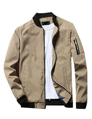 Lavnis Men's Flight Bomber Jacket Lightweight Softshell Coat Sportwear Zipper Windbreaker Khaki S