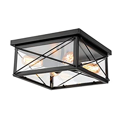 HMVPL Farmhouse Ceiling Lighting Fixtures, Industrial Flush Mount Close to Ceiling Lamp 4-Light with Glass Lampshade for Kitchen Island Dining Room Bedroom Foyer Hallway