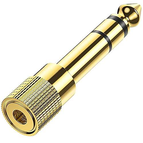 RMFC Klinke Adapter 3.5mm Auf 6.35mm, kopfhörer Audio Klinken Adapter, Klinken Buchse aux Audio Adapter mit Vergoldete Kontakte für Keyboard Kopfhörer Lautsprecher amp