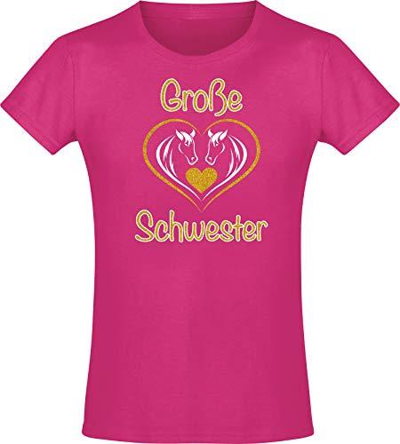 Kinder Shirt: Große Schwester - T-Shirt für Mädchen - Geschenk - Geburtstag - Geschwister - Sister - Pony - Pferd - Set - Herz - Familie - Glitzer - Gold - Rosa - Pink - Niedlich (104)