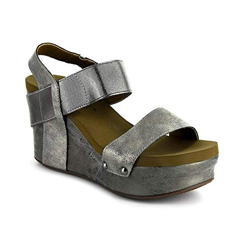Corkys Platform Womens Thick Leather Strap Wedge Heel Sandal (11 M US, Pewter)