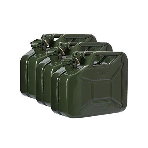 3X Oxid7 Benzinkanister Kraftstoffkanister Metall 10 Liter Olivgrün mit UN-Zulassung - Bauart geprüft - für Benzin und Diesel