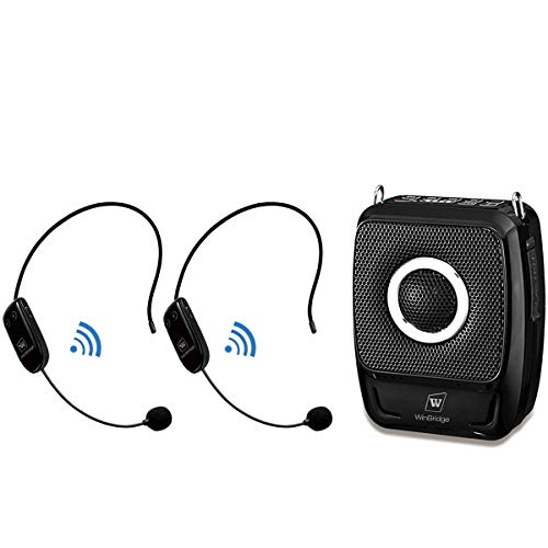 WinBridge Voice Amplifier with Two Wireless Headset Microphones, 25W 2600mAh Portable PA System, Bluetooth Speaker and Microphone for Teachers, Presentation, Meeting, Promotions and Outdoors S92 Plus