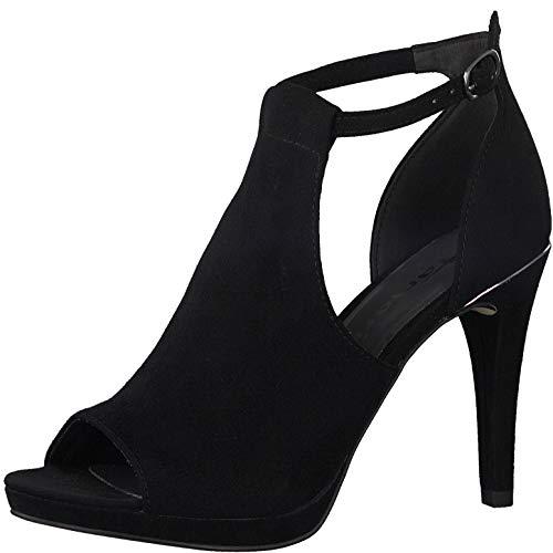 Tamaris Damen Sandalen 28400-34, Frauen Sandaletten, Sommerschuhe Absatzschuhe hoher Absatz feminin weibliche Ladies elegant,Black,38 EU / 5 UK