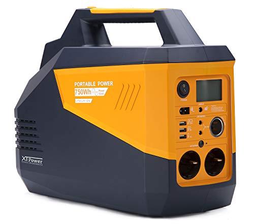 XTPower® XT-750Wh Energiespeicher - für AC Versorgung 230V/50Hz bis zu 500W - zusätzlich 2X 12V, 1x KFZ und 3X USB – Ladung über Solarpanel möglich