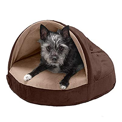 Furhaven Pet Dog Bed - Cooling Gel Memory Foam Orthopedic Round Cuddle Nest Micro Velvet Snuggery Blanket Pet Bed with Removable Cover for Dogs and Cats, Espresso, 18-Inch