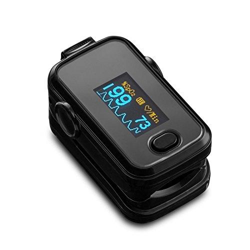 Dito SPO2 ossimetro di impulso impulso frequenza cardiaca con OLED - monitor di colore nero