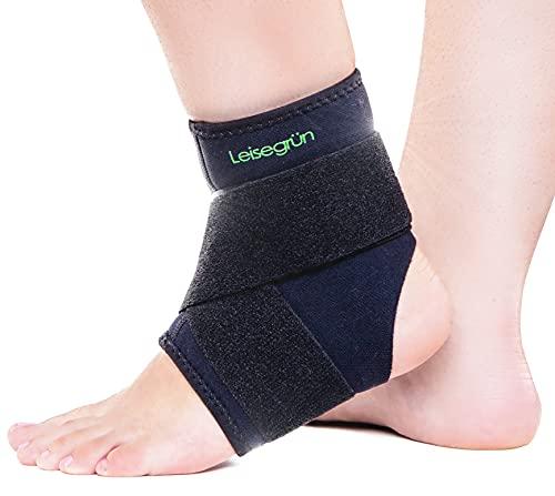 Leisegrün Sprunggelenkbandage mit Klettverschluss, Fußbandage bietet optimalen Support beim Sport wie Handball, Fußball, Volleyball. Für Damen, Herren und Kinder, rechts und Links tragbar, schwarz