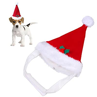 Red Warm Christmas Pet Santa Hat Plush for Pets Puppy Kitten Dogs Cats Soft Holiday Festivals Parties Costume Apparel Accessories (pet hat)