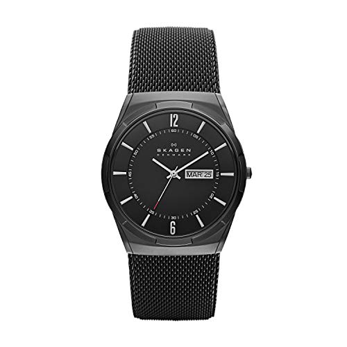 Skagen Men's Melbye Quartz Analog Stainless Steel and Stainless Steel Mesh Watch, Color: Black/Gray Steel Mesh (Model: SKW6006)