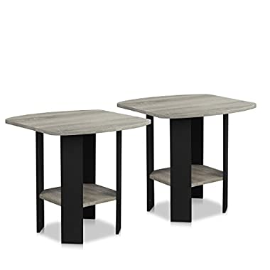 Furinno 2-11180GYW Simple Design End Table (Set of 2), Oak Grey/Black