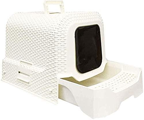 wangYUEQ Creative Rattin Style Litter Bol Personnalité Toilettes Entièrement fermé Maison Extérieur Grand Pot de Poteau Bassin de Sable (Couleur: Blanc) (Color : White)
