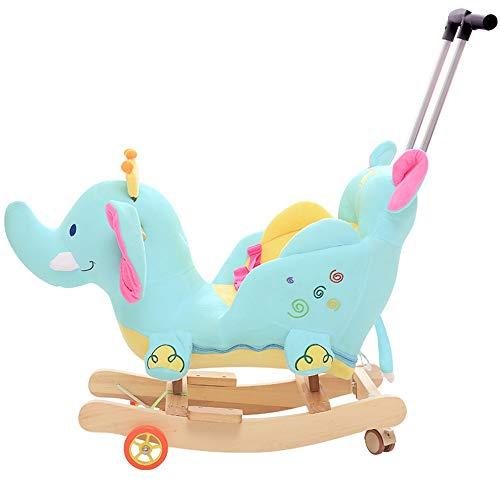 ZhaoXH Niños Rocking Horse, Silla de balanceo de Animales de Felpa, rockeros y Ruedas de Madera 2 en 1, cinturón de Seguridad y sillidos y Sonidos, Paseo en Juguete para bebés 1-3 años